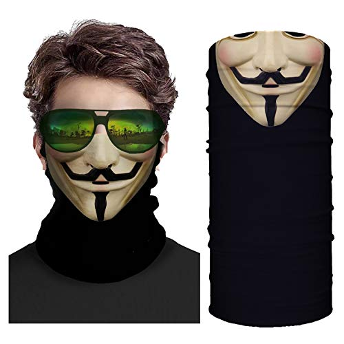 Anonymous Neck Gaiter Face Mask - Hacker Balaclava Graphic - Dust Guard Facemask - Lightweight Seamless Bandana - Guy Sports Buff - Cool Fawkes Fishing Scarf