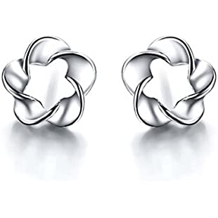 "Missrui Twist Flower Stud Earring ""Endless Love"" Cubic Zircon 925 Sterling Silver For Women Girl Birthday Gift"