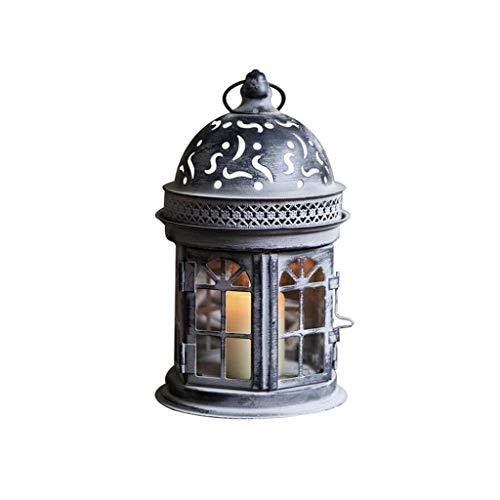 Linterna De Vela Decorativa - 21 Cm Alto Estilo Vintage Colgante Linterna, Candelero De Metal para Eventos Al Aire Libre En Interiores Partes Y Bodas (Negro)