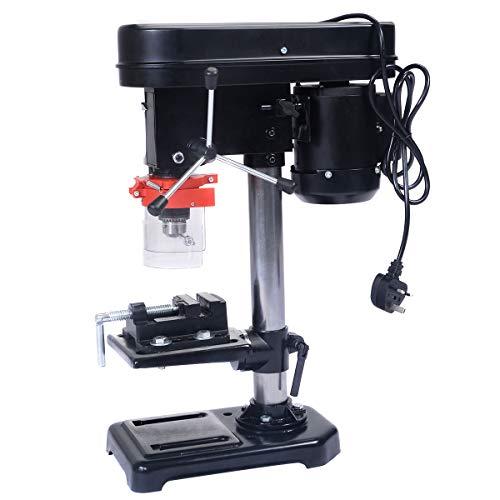 DREAMADE Tischbohrmaschine 350W, Säulenbohrmaschine 13mm, Standbohrmaschine Max. Bohrtiefe 50mm, Tischbohrmaschine stufenlose Tischhöhenverstellung