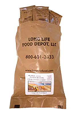 Long Life Food Depot MRE Peanut Butter, Jam, and Cheese Spread Combo - 24 Pack