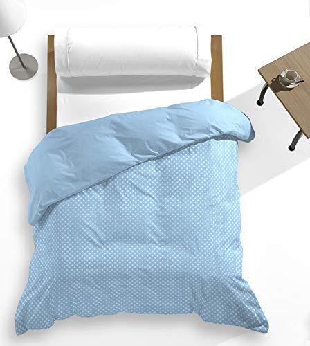 Catotex - Funda nórdica Topos Estampada + Lisa Reversible Trasera para edredón. 50% algodón 50% Poliester. Cama 105 cm Azul. Modelo Nia