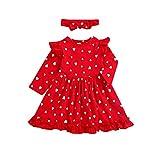 bilison Toddler Baby Girl Valentine's Clothes Girls Ruffle Sleeve Heart Dress+Headband 2PC Toddler and Little Girl's Valentine's Dress