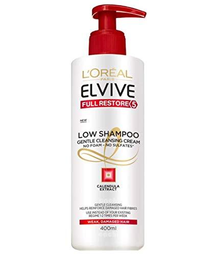 L Oreal Paris Elvive Low Shampoo Champú, sin sulfatos, para pelo dañado y debilitado - pack de 7 unidades x 400 ml - total: 2800 ml