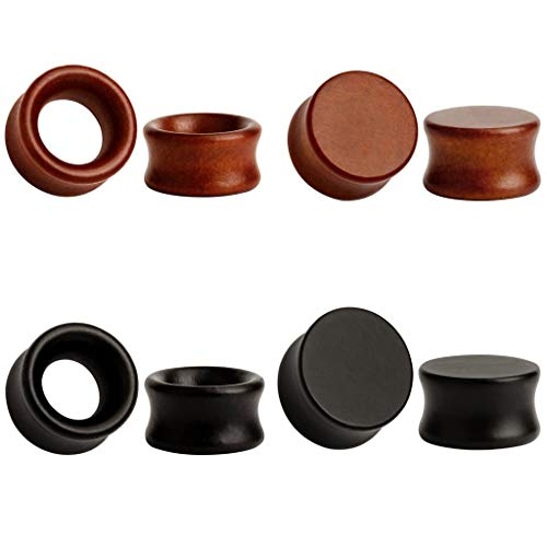 TBOSEN 8stk Large Double Flared Brown Schwarz Organic Holz Saddle Ohr Plugs Flesh Tunnels Stretching Punk Piercings Expanders Ear Gauges Set