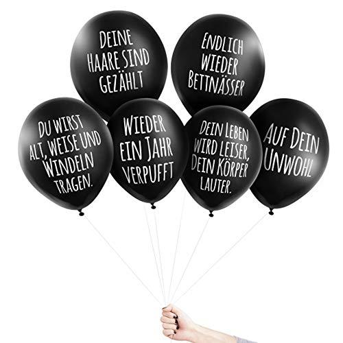 Pechkeks Anti-Party-Ballons, schwarze Luftballons mit schrägen Sprüchen, Glückwünschchen-Set, schwarz