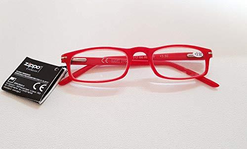 Leesbril heren dames unisex rood + 3.50 dioptrie 31Z-B6-RED 3.5 dioptrie voorgemonteerde bril van polycarbonaat en flexsysteem