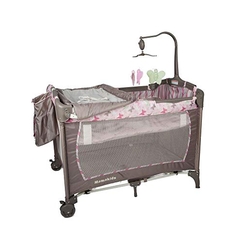 QTbabies Travel Cot Play Pen Crib for Baby or Toddlers with Changing Table, Carry Bag, Toy | Folding, Safe & Comfortable, Easy Assembly | H29 Butterfly