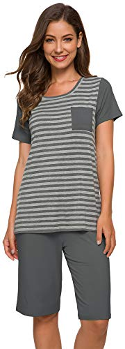 WiWi Womens Bamboo Pajamas Short Sleeves Top with Shorts Stretchy Pajamas Set Plus Size Comfy Loungewear Pjs Set S-4X, Stripe + Iron Grey, 4X