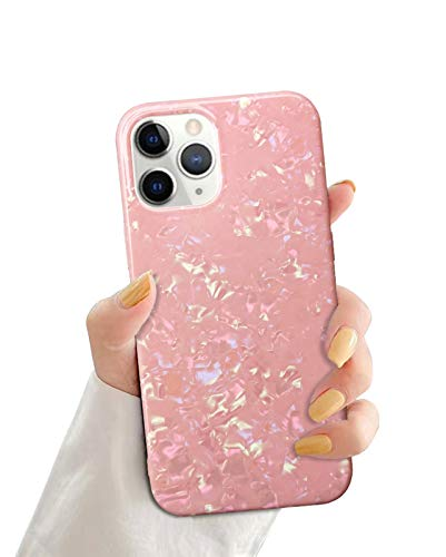 KITATA Coral Pink Case for iPhone 12 Pro Max Peach Bright Color Women Girls Girly Design, Soft TPU Silicone Protective Slim Cover Cute Glitter Sparkling Iridescent Crystal Diamonds Shiny 6.7' (2020)