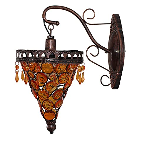 Lámpara de pared turca marroquí americana rural cabecera apliques de pared estilo tailandés vintage luces de pared para dormitorio salón pasillo Café, E14, F