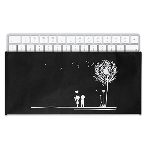 kwmobile Hülle kompatibel mit Universal Keyboard - PC Tastatur Schutzhülle - Keyboard Staub Cover Case Pusteblume Love Weiß Schwarz