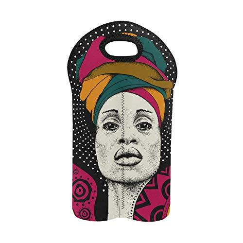 Wein Strandtasche Afrikanische Frau Mit Afrikanischem Kopftuch Weinflasche Einkaufstasche Doppelflaschenträger Weintaschen Und Träger 2 Flaschen Dickes Neopren Weinflaschenhalter H