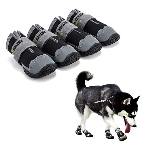Hcpet Dog Boots Waterproof for Dog with Reflective Velcro Rugged Anti-Slip Sole and Skid-Proof Outdoor Paw Wear for Medium to Large Dogs 4Ps (Black-Upgrade, 8: 3.4'x3.0'(LW) for 74-88 lbs)