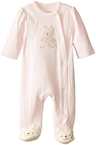 Little Me Baby-Girls Sweet Bear Footie, Light Pink, Newborn