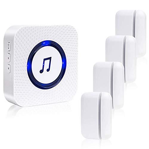 Door Chime Wireless Door Sensor Sanjie Door Opening Alarm for Business Home with 5 adjustable volume Mute mode 55 Ringtones LED indicatoor 1 Plug-in Receiver 4 Door sensor (White)