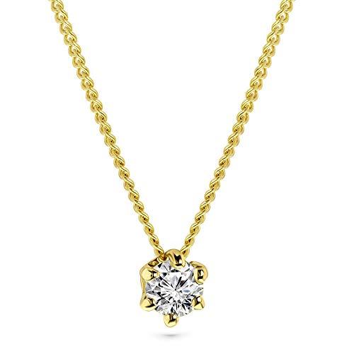Miore Kette Damen 0.15 Ct Diamant Halskette mit Anhänger Solitär Diamant Brillant Kette aus Gelbgold 14 Karat / 585 Gold, Halsschmuck 45 cm lang