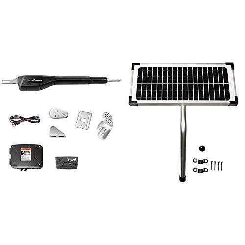 Mighty Mule MM371W Automatic Gate Opener (Smart), Single, Black & 10 Watt Solar Panel Kit (FM123) for Mighty Mule Automatic Gate Openers,Black Cell