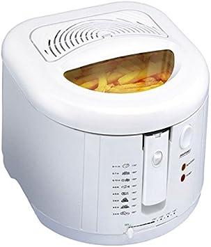 MPM DF-802 Freidora eléctrica compacta, 2 litros cubeta desmontable lavable antiadherente regulador hasta 190°C, libre BPA, 1600W
