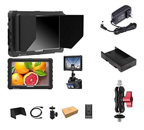 LILLIPUT 7 inch A7S-B Black 1920x1200 IPS On Camera Monitor with 4K HDMI Input Output Field Monitor for DSLR and Mirrorless Cameras with Free Gifts:Mini Magic Arm Mount + LP-E6 Plate+ 12V AC Adapter