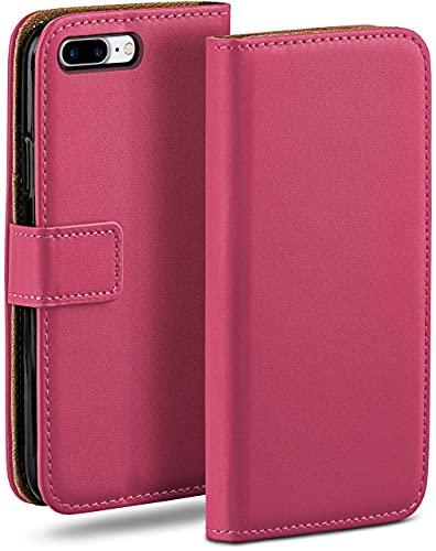 moex Klapphülle kompatibel mit iPhone 7 Plus/iPhone 8 Plus Hülle klappbar, Handyhülle mit Kartenfach, 360 Grad Flip Hülle, Vegan Leder Handytasche, Pink