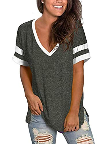 MOPOOGOSS Women's T Shirts V Neck Short Sleeve Summer T-Shirt Color Block Tops and Blouse Tee Shirts Dark Grey S