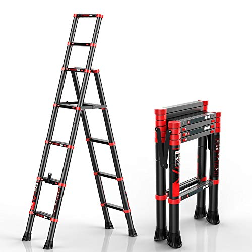 charaHOME Telescoping Ladder AFrame Aluminum Extension Ladder Lightweight Portable MultiPurpose Folding Ladder 330 Pound Load Capacity