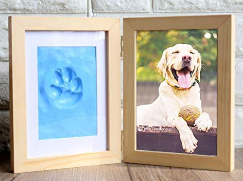 WANWW Hund Oder Katze Pfotenabdrücke Pet Memorial Bilderrahmen Clay Impression Kit, Baby Hand Und Footprint Picture Frame Kit,Blau
