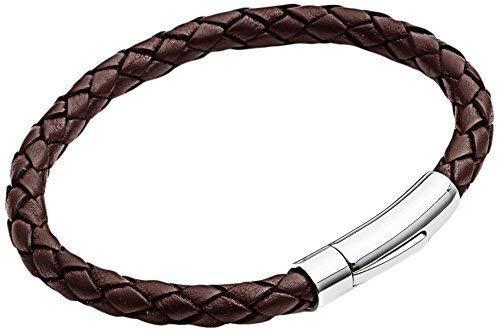 Herren Lederarmband - Braun geflochtenes 23cm Armband von Tribal Steel - Armband für Männer mit genietetem Edelstahl Kippverschluss - Hochwertiges Geschenk für Männer