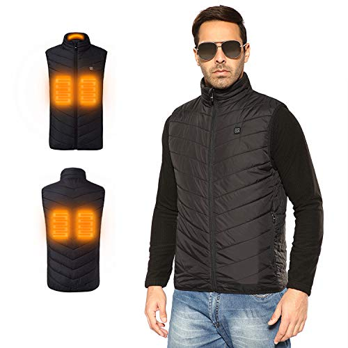 PAVEHAWK Outdoor Lightweight Heated Vest USB Electric Hooded Winter Heating Clothing Vest Thermal Clothing Skiing Hiking(Power Bank NOT Included)