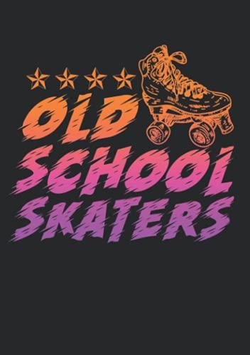 Notizbuch A5 kariert mit Softcover Design: Oldschool Skaters Rollschuh Geschenk Retro Inliner Spruch: 120 karierte DIN A5 Seiten