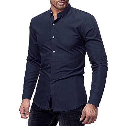 Camisa de Manga Larga con Cuello Alto Entallado de Color sólido para Hombre Camisas Formales Retro Informales de Negocios de Todo fósforo XXL
