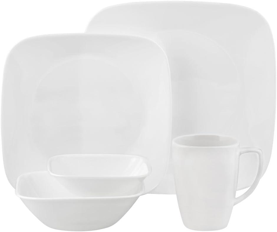 Corelle Square Pure White 16 Piece Dinnerware Lunch Set Service For 8 Dinnerware Sets Amazon Com