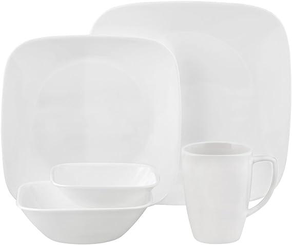 Corelle Square Pure White 30 Piece Dinnerware Set Service For 6 Correlle Sets Dinnerware Sets Amazon Com