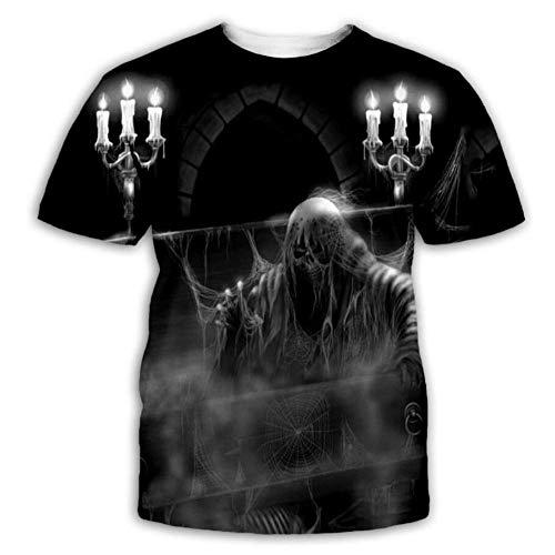 T-Shirt 3D Gedruckt Schwarze Weiße Kerze Lässige Grafik Kurzarm Tops Tee Sommer Unisex,5XL