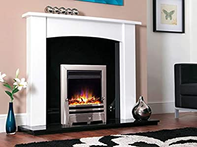 """New Designer Celsi Fire - Electriflame XD Hearth Mounted Electric Fire 16"""" Bauhaus Satin Silver"""