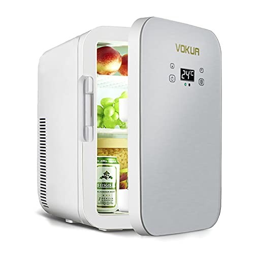 Mini Fridge, VOKUA 10 Liter/11 Can Dual-Core Compact Refrigerator for Drinks, Bedroom, Skin Care, Office, Dorm, Car, Travel, Portable AC/DC Small Cooler and Warmer with Digital Temperature Control