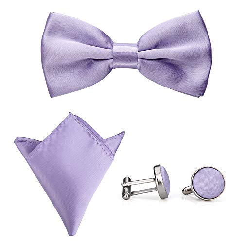 Rusty Bob – Papillon con fazzoletto da taschino e gemelli   diversi colori   Set da 3 lilla. M