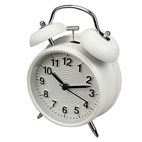 Wekker met dubbele bel, wekker, retro, stil, bedlampje met nachtlampje voor sterke wekker met batterijen, zonder tikken, stil, retro wekker