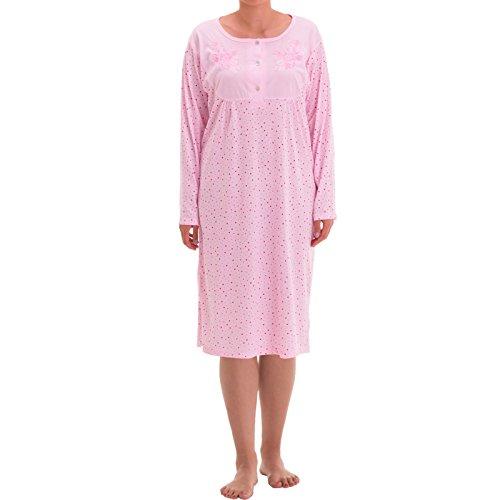 Tijdloos - nachthemd Lilly lange mouwen stippenmix borduurwerk slaapshirt