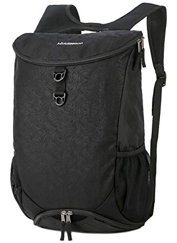 Mouteenoo Sport Gym Backpack with Shoes Compartment Drawstring Backpack for Men and Women Sackpack Carry on Bag for Travel or Hiking (Black)
