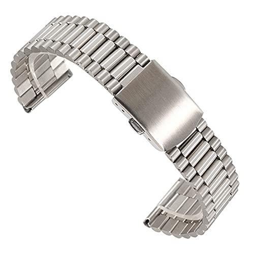 ZXF Correa Reloj, 14/12/16/18 / 20mm Enlace Enlace Banda de Reloj de Acero Inoxidable Pliegue de Cierre de Seguridad Relojes de Seguridad Strap Pulsera Reemplazo para Mujeres y Hombres