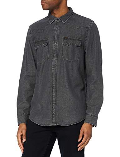 Lee Rider Shirt' Camisa Casual, Asfalto, M para Hombre