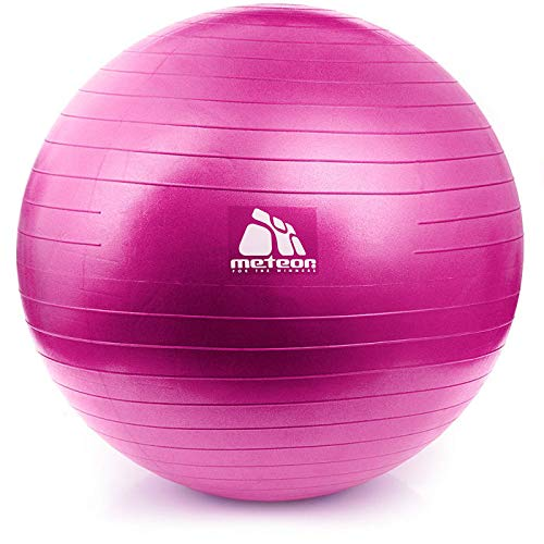 meteor Exercise Ball Fitness Ball Swiss Ball Extra Thick Anti-Slip Anti-Burst Heavy Duty Ball Chair Pregnancy Birthing Ball Yoga Pilates Gym and Home Exercise 4 sizes: 55, 65, 75, 85cm with Quick Pump