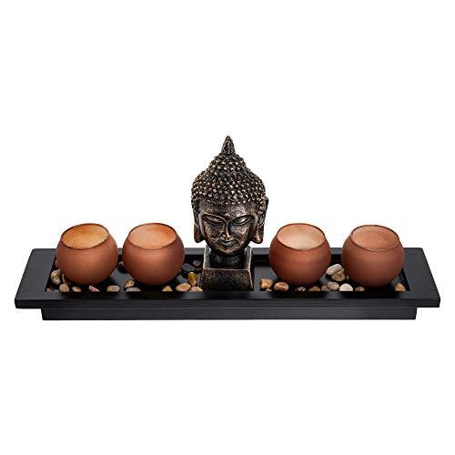 London Boutique Set de Regalo con Estatua de Buda tailandesa para jardín Ze