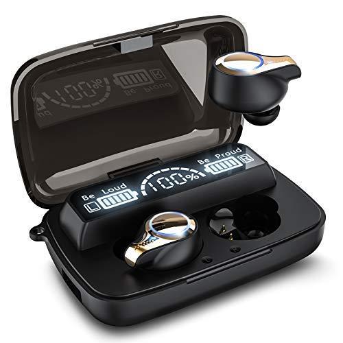 Bluetooth Kopfhörer In Ear Kabellos Bluetooth 5.0 Kopfhörer 156H Playtime Deep Bass Hi-Fi Stereo Sound Wireless Ohrhörer mit Mikrofon, IPX7 Wasserdicht, Smart LCD Digitalanzeige Ladekoffer X18-4