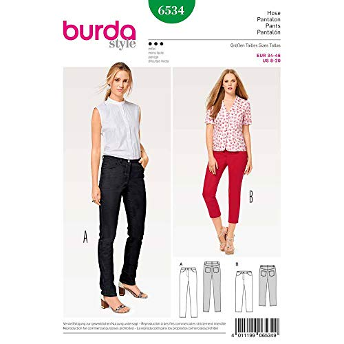 Burda 6534 Schnittmuster Jeans (Damen, Gr. 34-46) Level 3 mittel