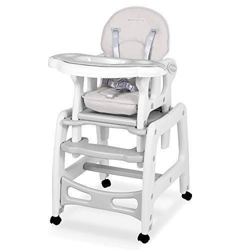Kinderhochstuhl Babyhochstuhl Mitwachsender Multifunktions Hochstuhl 5in1 Tisch + Babystuhl regulierbar Schaukelfunktion SINCO Ricokids (Grau)