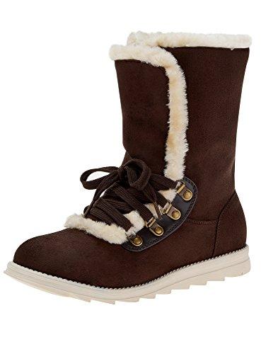 oodji Ultra Damen Warme Stiefel mit Kontrastbesatz, Braun, 41 EU / 7 UK