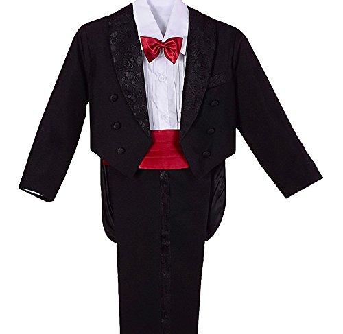 Lito Angels - Traje de esmoquin para niño (5 piezas, formal) Negro con rojo (Con Cummerbund) 18 meses